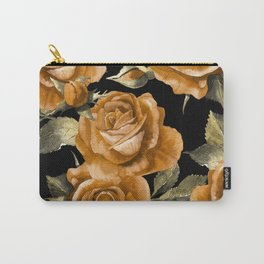 Retro Orange Roses On Black Carry-All Pouch