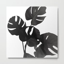 Monstera Leaves Black & White Vibes #1 #minimal #decor #art #society6 Metal Print
