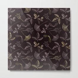 Seeds and Leaves print - red. Metal Print