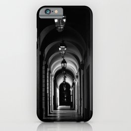 Chiaroscuro | Echoes of light | Low key black and white photography | Hallway Hôtel-Dieu of Lyon iPhone Case