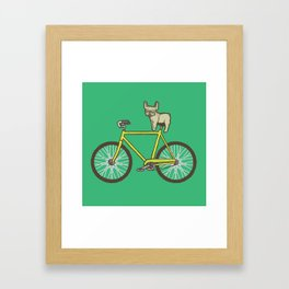 Frenchie on a Fixie Framed Art Print