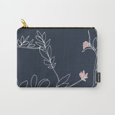 Flora, White and Pink on Navy Blue Carry-All Pouch