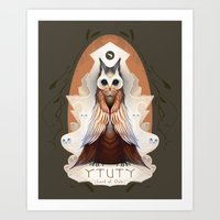 lord of the ring Art Prints featuring Ytuty Lord of Owls by Mark Facey