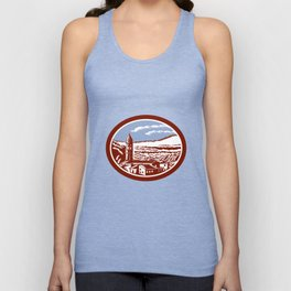 Church Belfry Tower Tuscany Italy Woodcut Unisex Tank Top