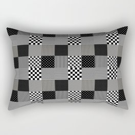 Classic Black and White Country Patchwork Quilt Rectangular Pillow