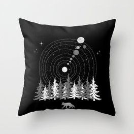 Alone Time - Solar System Nature Fox Throw Pillow