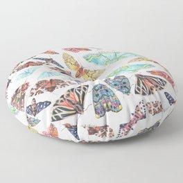 Nature Illustration of Moths Floor Pillow