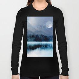 Mountainscape Under The Moonlight Long Sleeve T-shirt