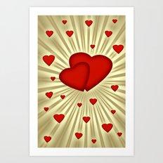 Hearts 7 Art Print