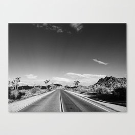 Horizontal print of open road in Joshua Tree California, landscape Canvas Print