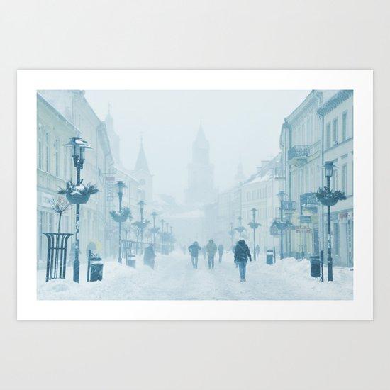 Foggy and snowy day Art Print