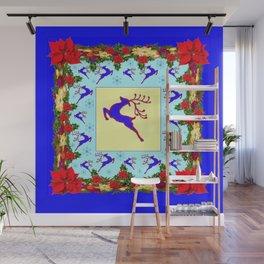 LEAPING DEER POINSETTIAS & SNOWFLAKES BLUE ART CHRISTMAS de Wall Mural