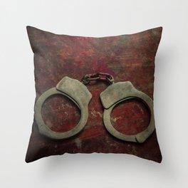 Rusty handcuffs Throw Pillow