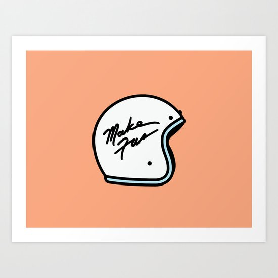 Make Fun Moto Helmet Art Print