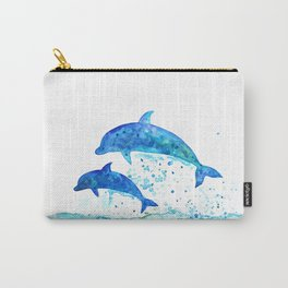 Dolphins, Blue dolphins, watercolor Carry-All Pouch