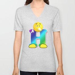 Letter H Alphabet Smiley Monogram Face Emoji Shirt for Men Women Kids Unisex V-Neck