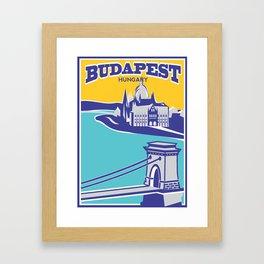 Budapest vintage poster, Chain Bridge Framed Art Print
