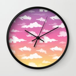 Sunset Ombré Sky and Clouds Print Wall Clock