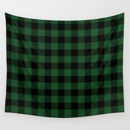Jumbo Forest Green and Black Rustic Cowboy Cabin Buffalo Check Wall Tapestry