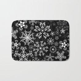 Symbols in Snowflakes on Black Bath Mat