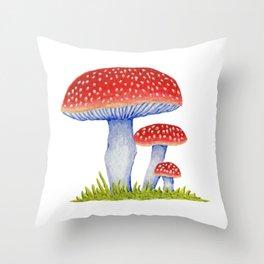 Woodland Toadstools Throw Pillow