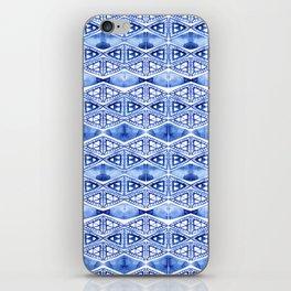 Watercolor blue indigo triangles iPhone Skin