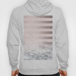 Rose Gold Pink Stripes and Marble Design Hoody