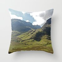 scotland Throw Pillows featuring Scotland Hills by Shelly Navarre