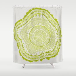 Lime Tree Rings Shower Curtain