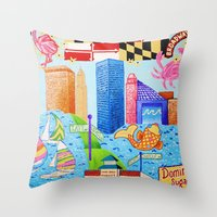 baltimore Throw Pillows featuring Baltimore, Maryland by Karen Riddle