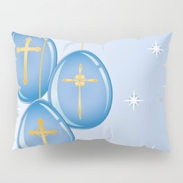 Shiny blue hanging eggs decorated with gold crosses Pillow Sham