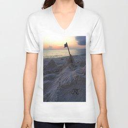 Sandcastle Sunset Unisex V-Neck