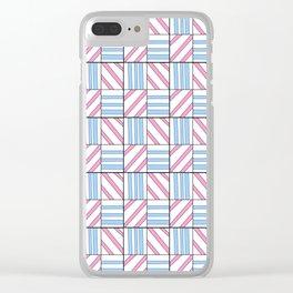 symetric tartan and gingham 6 -vichy, gingham,strip,square,geometric, sober,tartan Clear iPhone Case