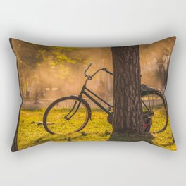 Bicylce Resting against a Tree Rectangular Pillow