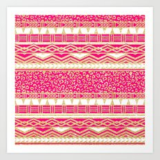 Modern neon pink faux gold glitter aztec leopard Art Print