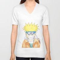 naruto V-neck T-shirts featuring Naruto Uzumaki by rosalia