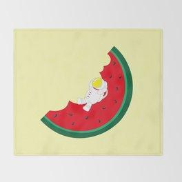 Space Odyssey | Astronaut Watermelon | Fruit | Summer | Watermelon Moon | pulp of wood Throw Blanket