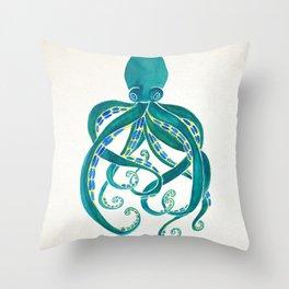 Octopus Watercolor Throw Pillow