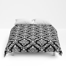 Prima Damask Pattern White on Black Comforters