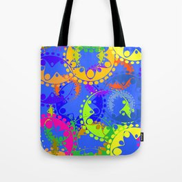Texture of bright colorful gears and laurel wreaths in kaleidoscope style on a blue background. Tote Bag