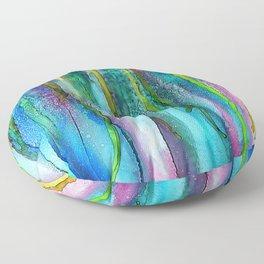Rainbow Rain - Alcohol Ink Painting Floor Pillow
