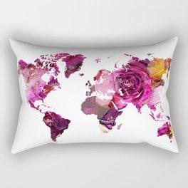 world map roses texture art  Rectangular Pillow