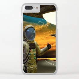 Hitchinghiking Across The Universe Clear iPhone Case