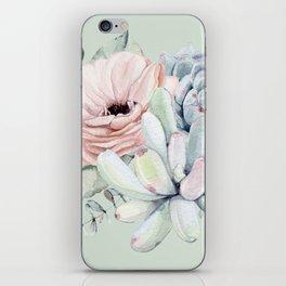 Delightful Mint + Pink Succulents iPhone Skin