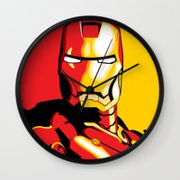 iron man Wall Clocks featuring Iron Man by C.Rhodes Design