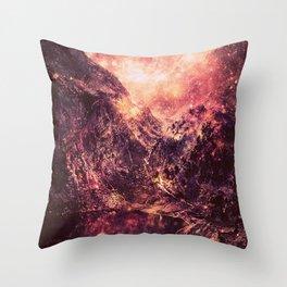 Galaxy Mountains : Mauve Burgundy Throw Pillow