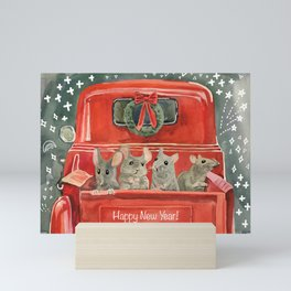 New year and mouses in red car Mini Art Print