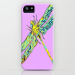 Yellow & Aqua Fantasy Dragonfly in Ambient Lilac-Pink  iPhone Case