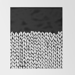 Half Knit  Black Throw Blanket