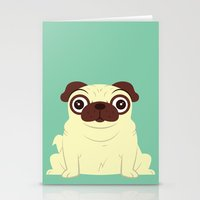 pug Stationery Cards featuring Pug by Hoborobo